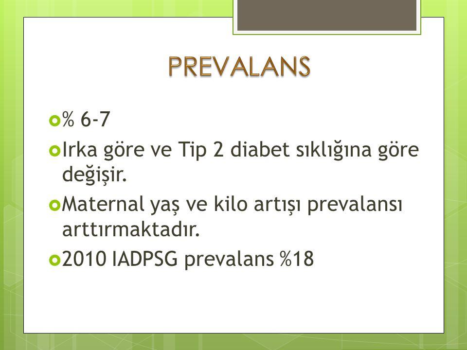 IADPSG 2010 24-28. hafta 75 gr OGTT:  Açlık >92 mg/dl  1.saat >180 mg/dl  2.saat >153 mg/dl