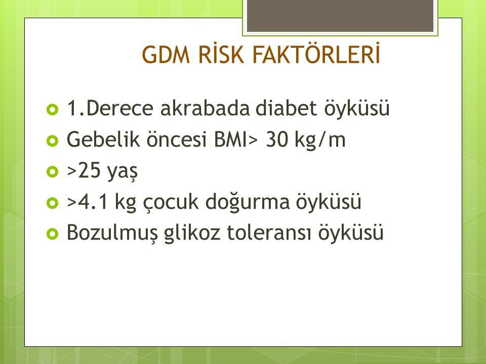 IADPSG 2010 GEBELİKTE OVERT DİABET TANI KRİTERLERİ  Açlık plazma glikoz>126 mg/dl  HbA1C>6.5  Rastgele plazma glikoz >200 mg/dl