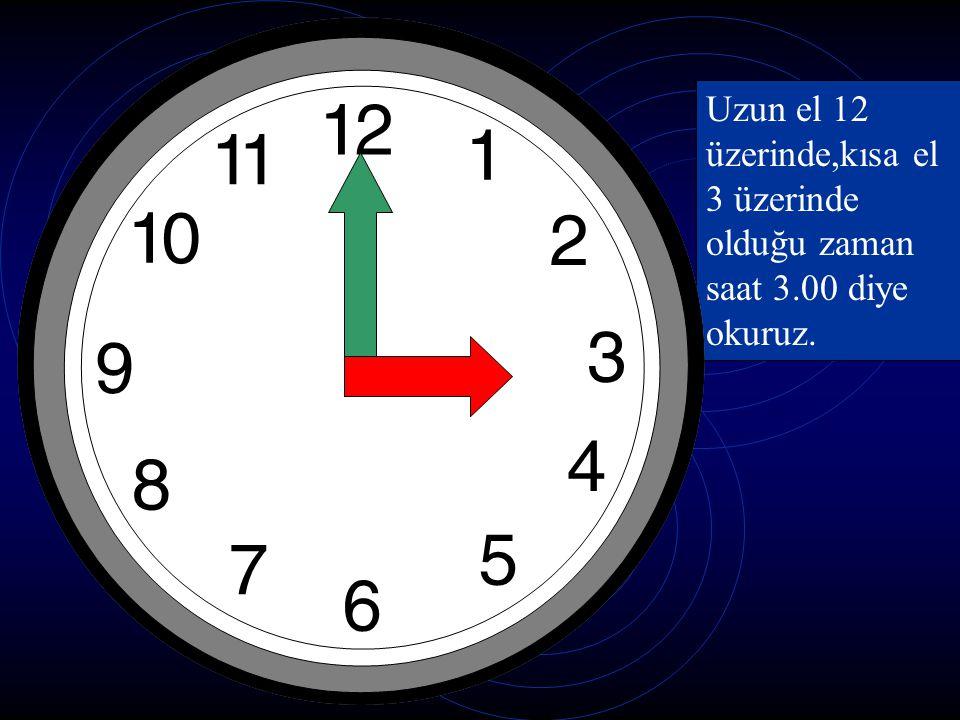 Akrep ve yelkovan 12 nin üzerinde.Şimdi saat kaç? Saat oniki veya 12:00