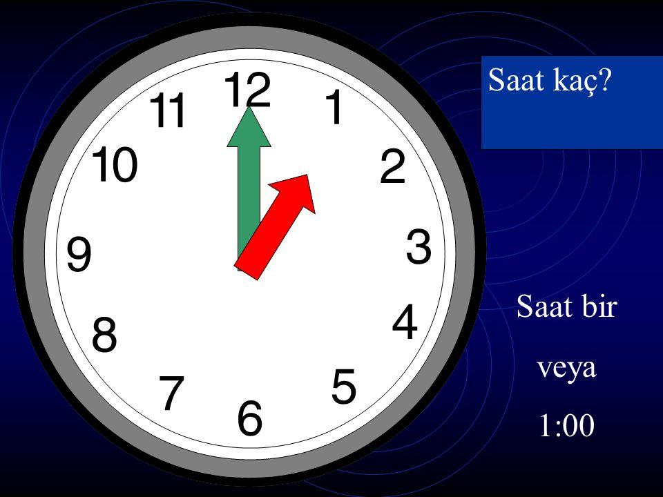 Saat kaç ? Saat iki veya 2:00