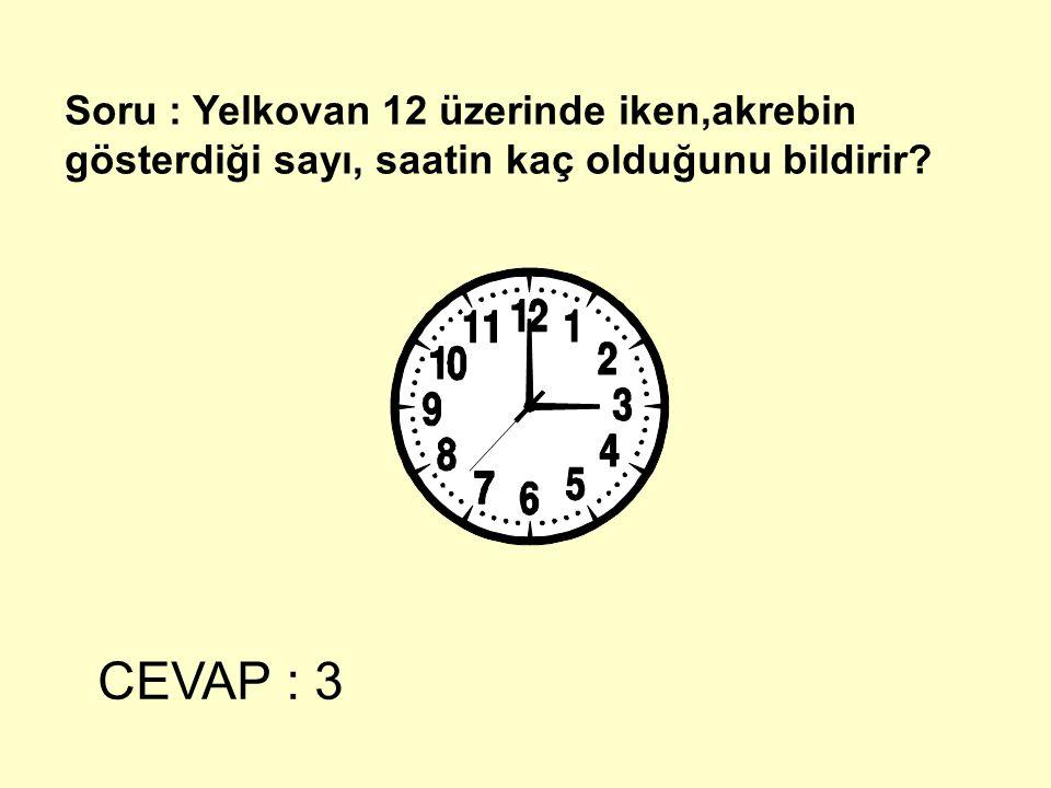 Soru : Yelkovan 12 üzerinde iken,akrebin gösterdiği sayı, saatin kaç olduğunu bildirir? CEVAP : 3