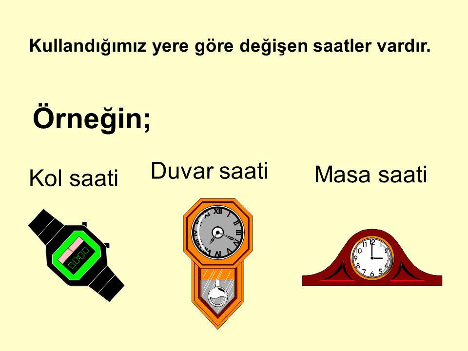 Kullandığımız yere göre değişen saatler vardır. Örneğin; Kol saati Duvar saati Masa saati