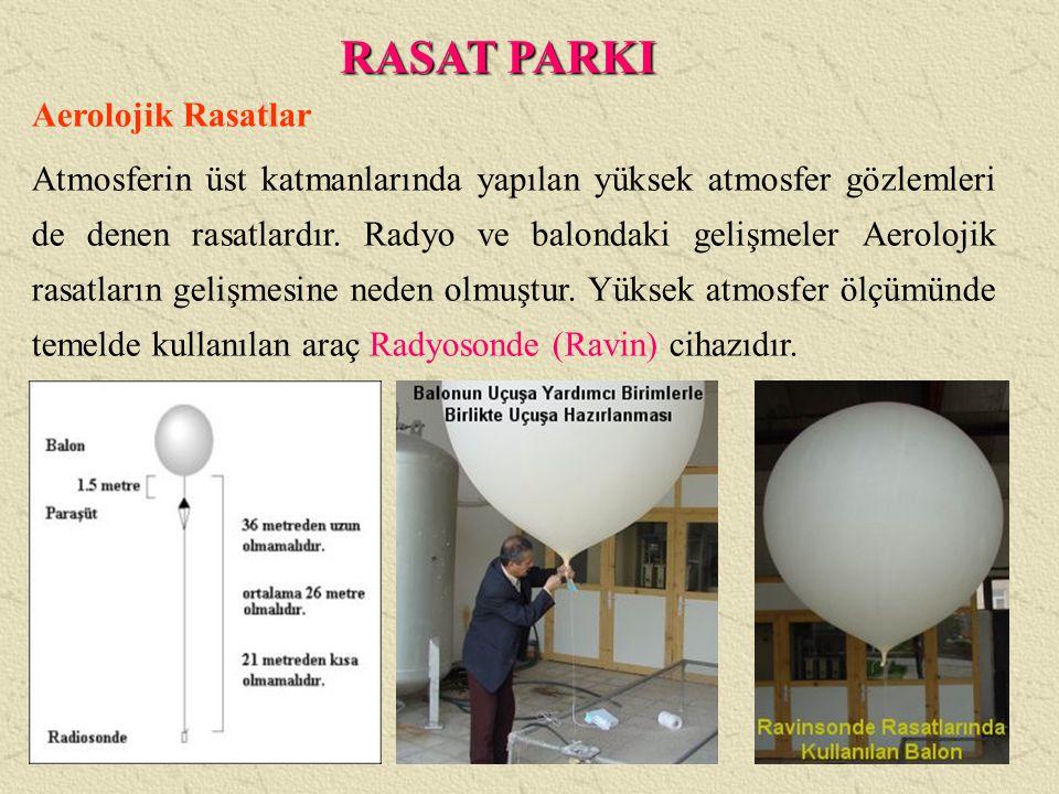 Aerolojik Rasatlar Atmosferin üst katmanlarında yapılan yüksek atmosfer gözlemleri de denen rasatlardır. Radyo ve balondaki gelişmeler Aerolojik rasat