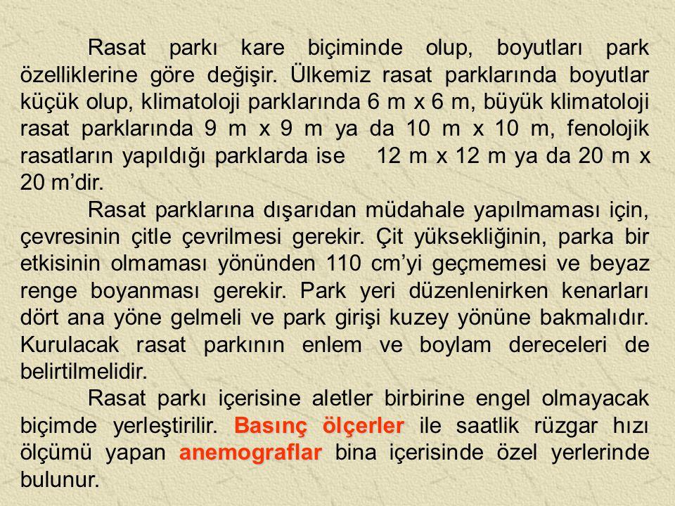 Rasat parkı kare biçiminde olup, boyutları park özelliklerine göre değişir. Ülkemiz rasat parklarında boyutlar küçük olup, klimatoloji parklarında 6 m