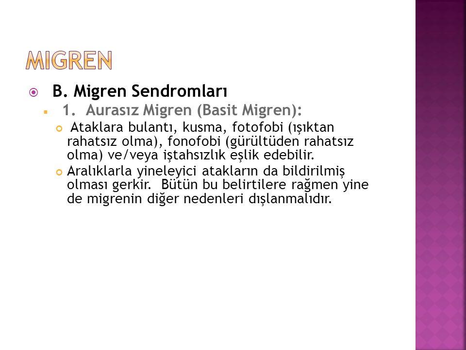  B. Migren Sendromları  1. Aurasız Migren (Basit Migren): Ataklara bulantı, kusma, fotofobi (ışıktan rahatsız olma), fonofobi (gürültüden rahatsız o