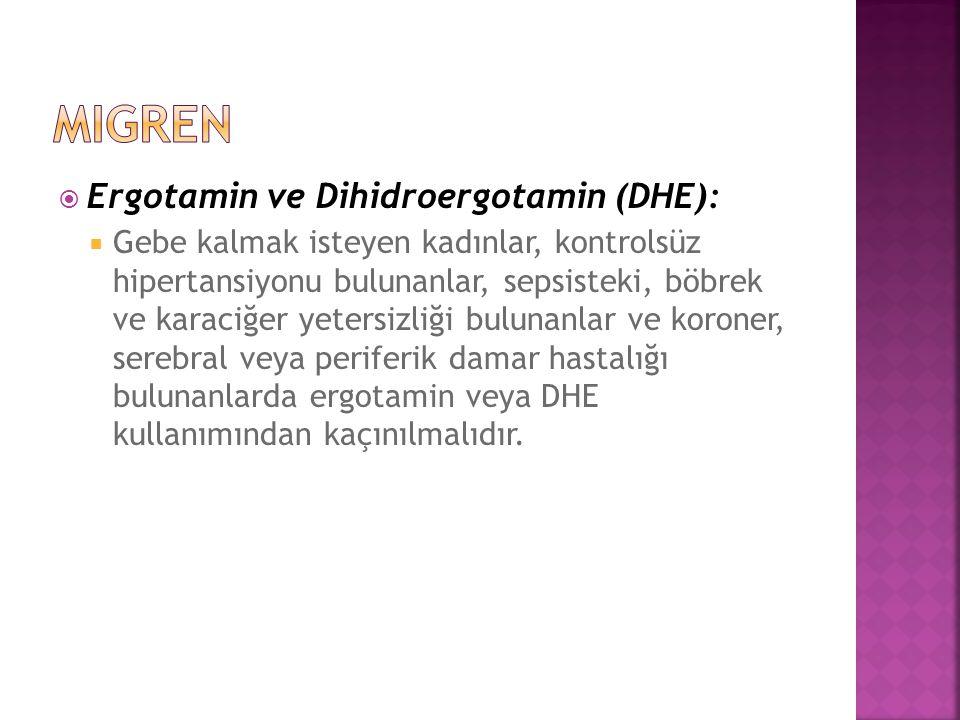  Ergotamin ve Dihidroergotamin (DHE):  Gebe kalmak isteyen kadınlar, kontrolsüz hipertansiyonu bulunanlar, sepsisteki, böbrek ve karaciğer yetersizl