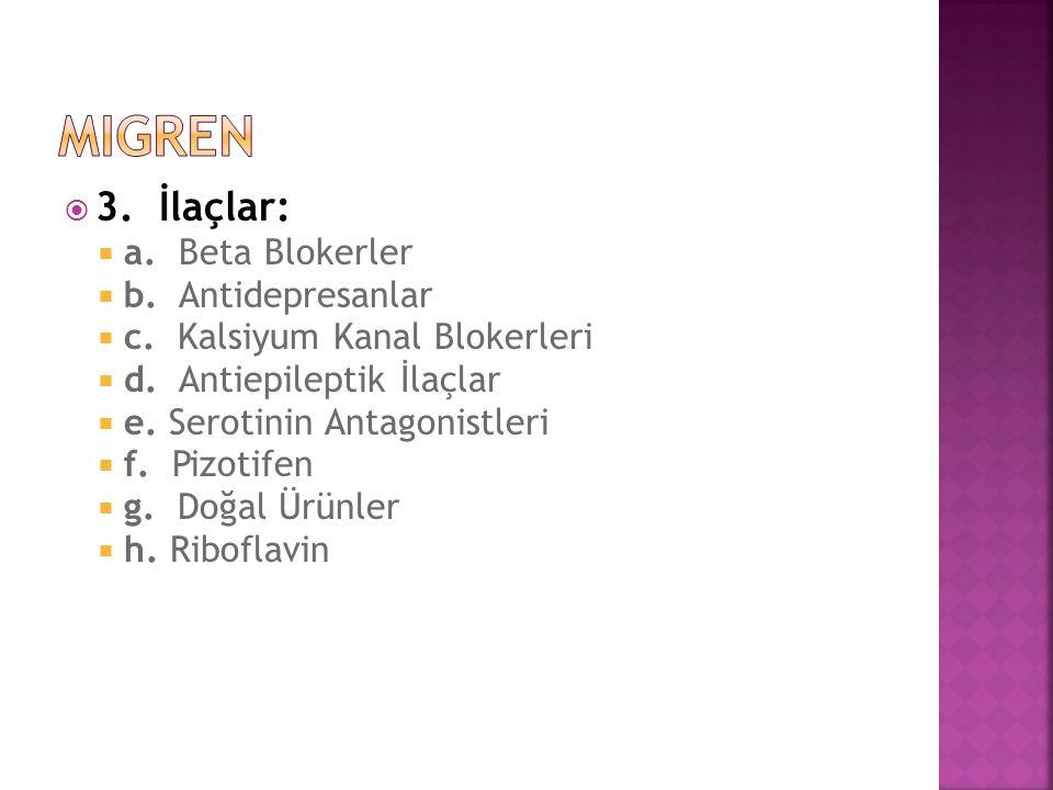  3. İlaçlar:  a. Beta Blokerler  b. Antidepresanlar  c. Kalsiyum Kanal Blokerleri  d. Antiepileptik İlaçlar  e. Serotinin Antagonistleri  f. Pi