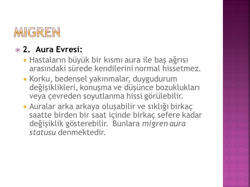  2. Aura Evresi:  Hastaların büyük bir kısmı aura ile baş ağrısı arasındaki sürede kendilerini normal hissetmez.  Korku, bedensel yakınmalar, duygu