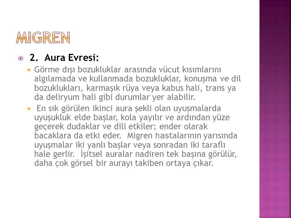  2. Aura Evresi:  Görme dışı bozukluklar arasında vücut kısımlarını algılamada ve kullanmada bozukluklar, konuşma ve dil bozuklukları, karmaşık rüya