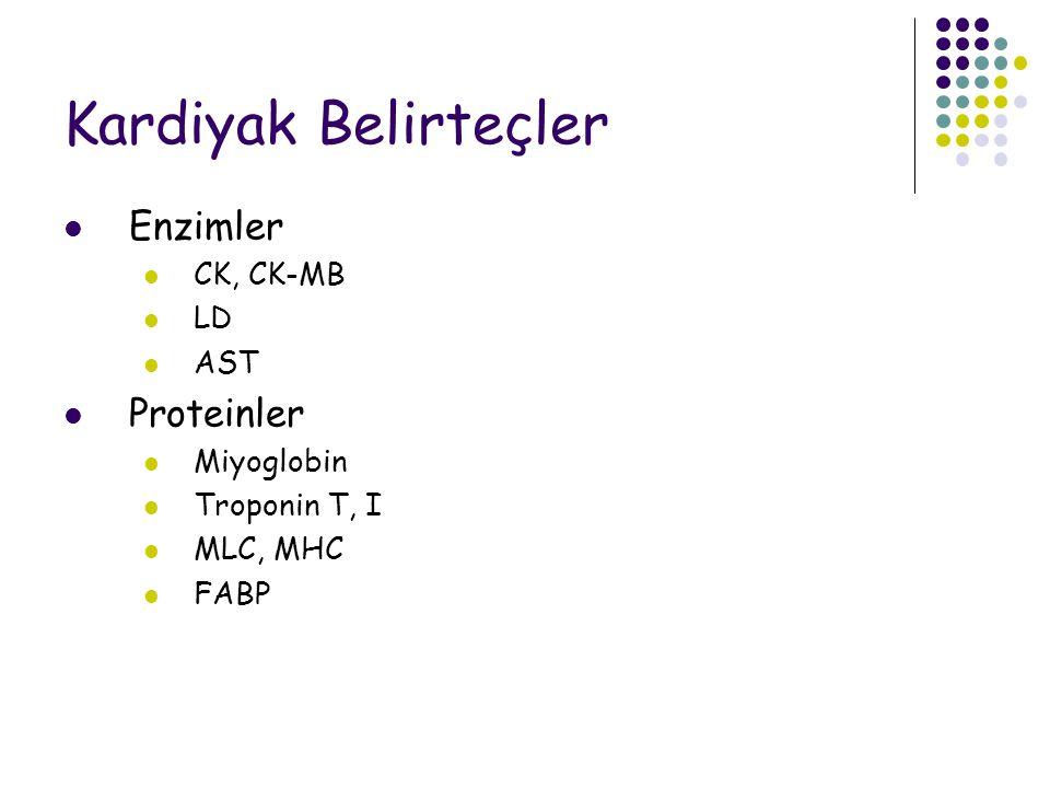 Kardiyak Belirteçler Enzimler CK, CK-MB LD AST Proteinler Miyoglobin Troponin T, I MLC, MHC FABP