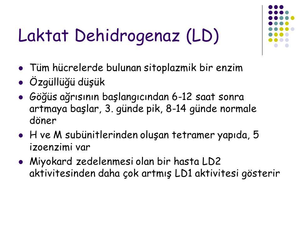 Laktat Dehidrogenaz (LD) Tüm hücrelerde bulunan sitoplazmik bir enzim Özgüllüğü düşük Göğüs ağrısının başlangıcından 6-12 saat sonra artmaya başlar, 3.