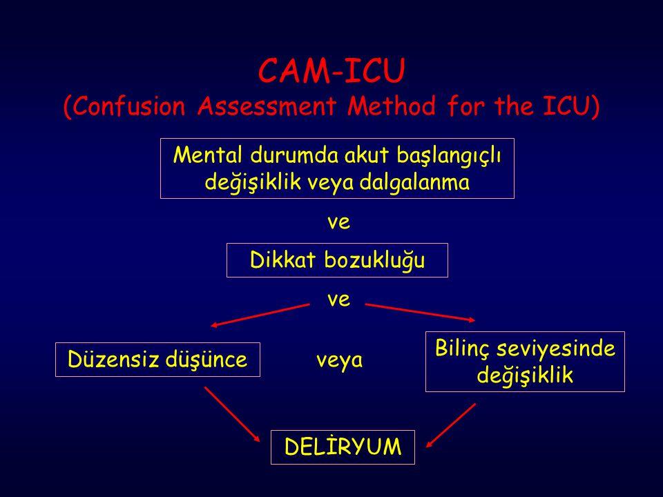 CAM-ICU (Confusion Assessment Method for the ICU) Mental durumda akut başlangıçlı değişiklik veya dalgalanma ve Dikkat bozukluğu Bilinç seviyesinde de