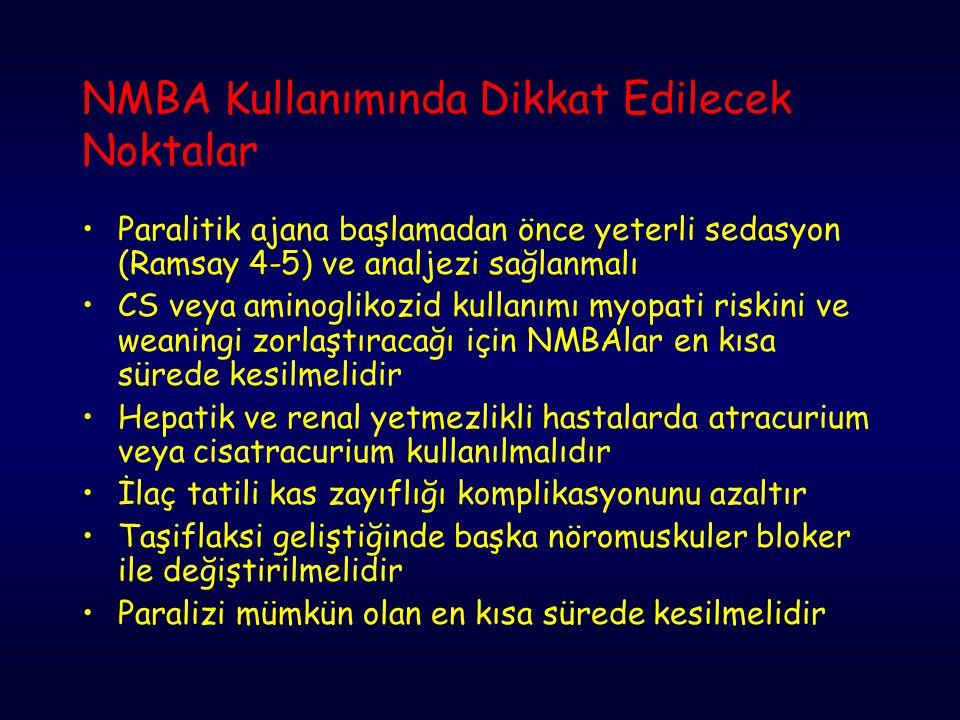 NMBA Kullanımında Dikkat Edilecek Noktalar Paralitik ajana başlamadan önce yeterli sedasyon (Ramsay 4-5) ve analjezi sağlanmalı CS veya aminoglikozid