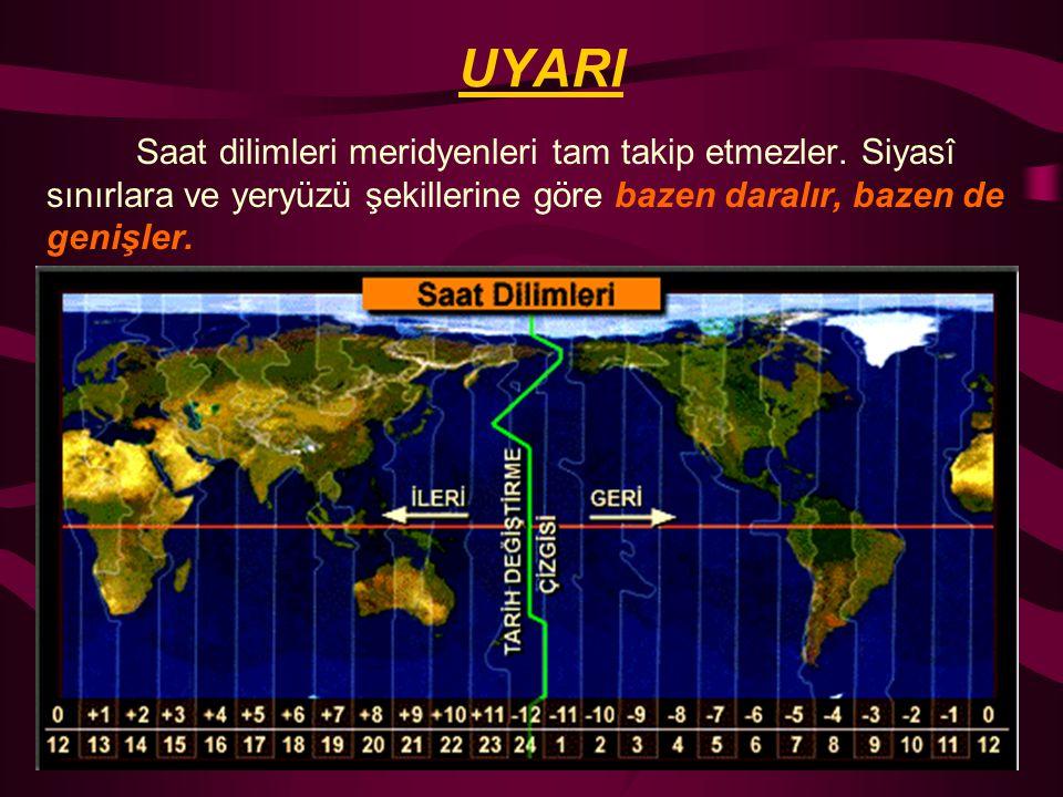3. SAAT DİLİMLERİ Dünyada saat ayarı konusunda çıkan karışıklıkları önlemek amacıyla dünyamız 24 saat dilimine ayrılmıştır. Peki neden 24 saat dilimi?