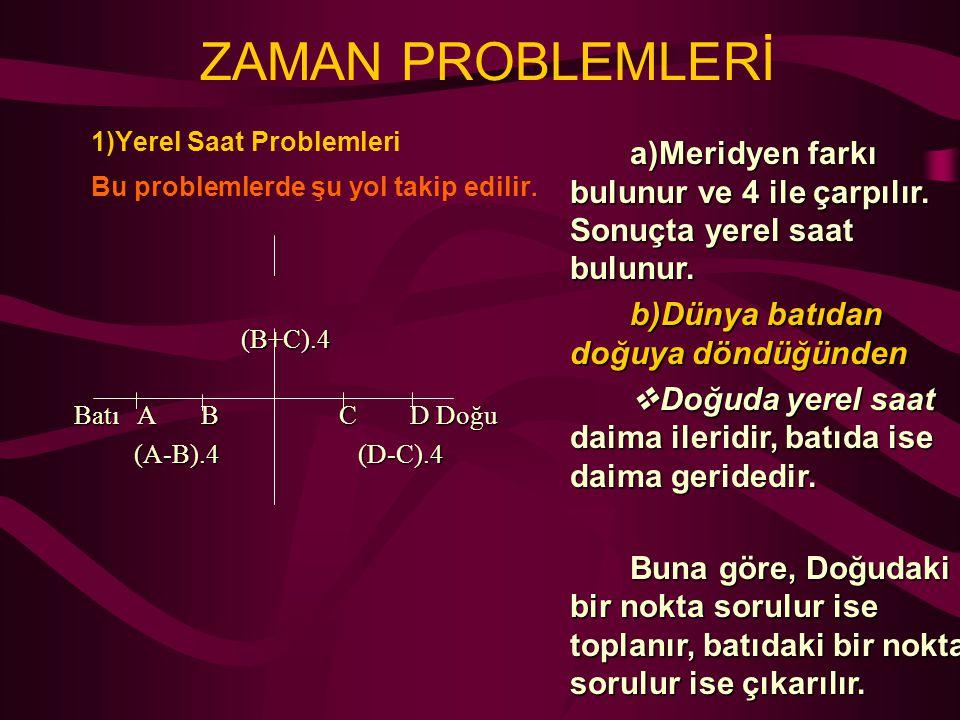 ZAMAN PROBLEMLERİ 1)Yerel Saat Problemleri Bu problemlerde şu yol takip edilir.