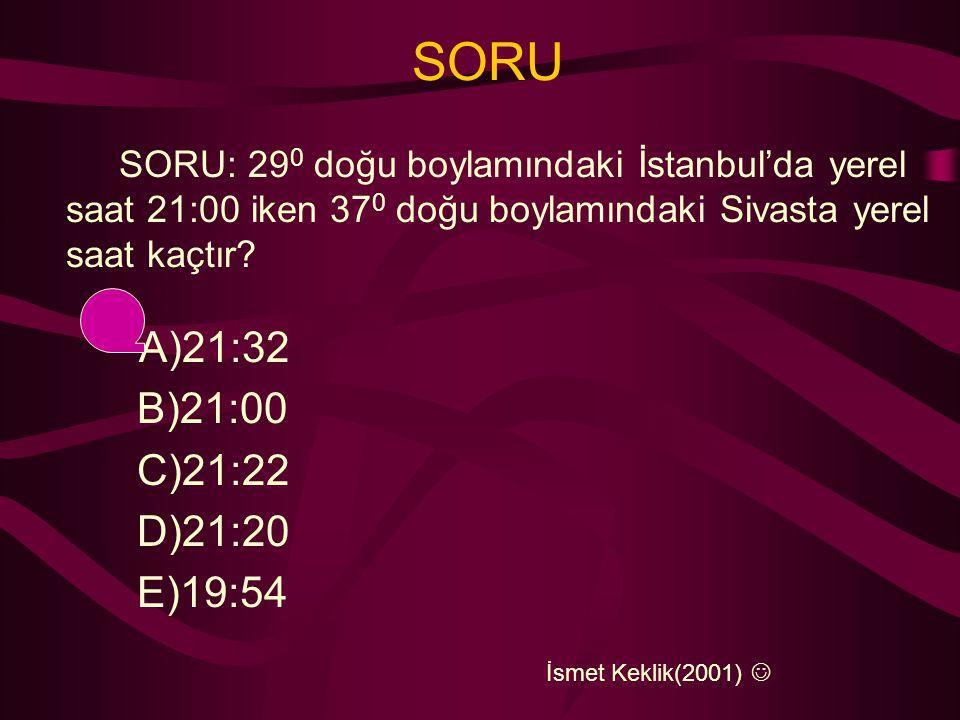 SORU SORU: 29 0 doğu boylamındaki İstanbul'da yerel saat 21:00 iken 37 0 doğu boylamındaki Sivasta yerel saat kaçtır.
