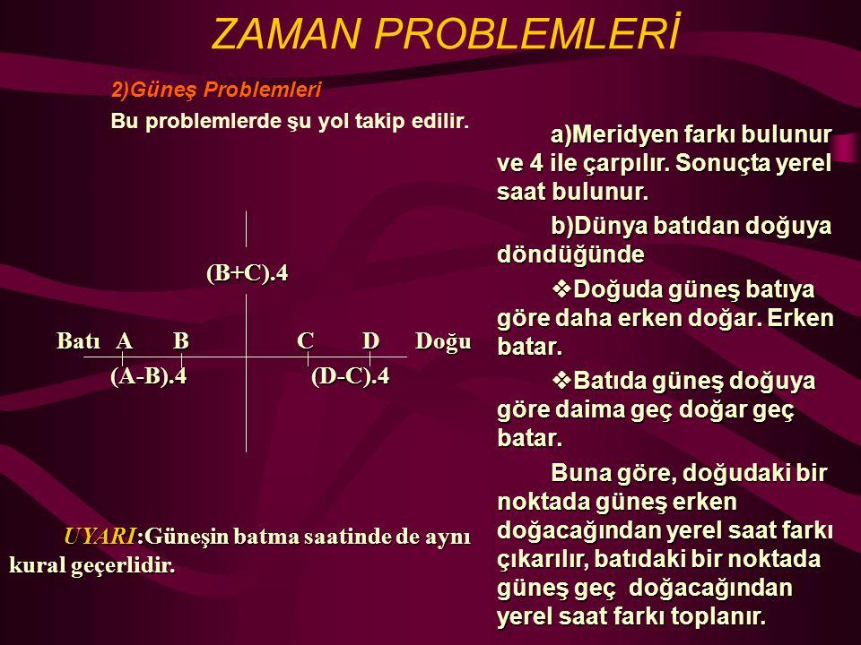 ZAMAN PROBLEMLERİ 2)Güneş Problemleri Bu problemlerde şu yol takip edilir.