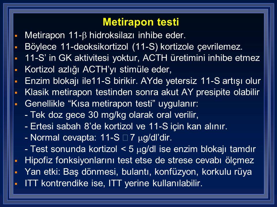 Metirapon testi  Metirapon 11-  hidroksilazı inhibe eder.  Böylece 11-deoksikortizol (11-S) kortizole çevrilemez.  11-S' in GK aktivitesi yoktur,
