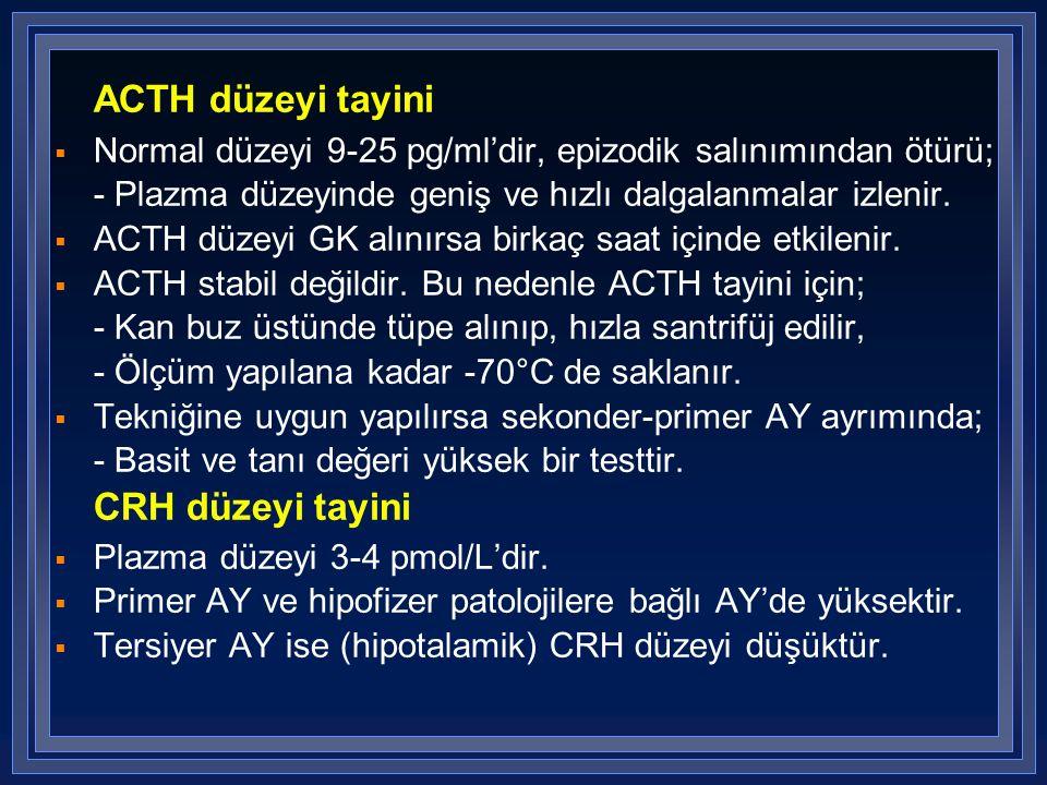 ACTH düzeyi tayini  Normal düzeyi 9-25 pg/ml'dir, epizodik salınımından ötürü; - Plazma düzeyinde geniş ve hızlı dalgalanmalar izlenir.  ACTH düzeyi