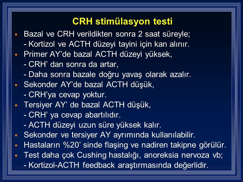 CRH stimülasyon testi  Bazal ve CRH verildikten sonra 2 saat süreyle; - Kortizol ve ACTH düzeyi tayini için kan alınır.  Primer AY'de bazal ACTH düz