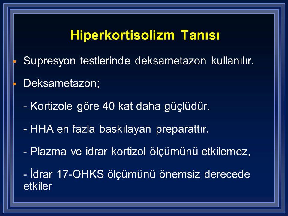Hiperkortisolizm Tanısı  Supresyon testlerinde deksametazon kullanılır.  Deksametazon; - Kortizole göre 40 kat daha güçlüdür. - HHA en fazla baskıla
