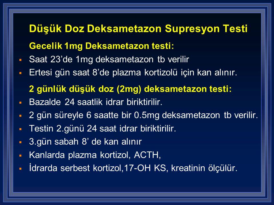 Düşük Doz Deksametazon Supresyon Testi Gecelik 1mg Deksametazon testi:  Saat 23'de 1mg deksametazon tb verilir  Ertesi gün saat 8'de plazma kortizol
