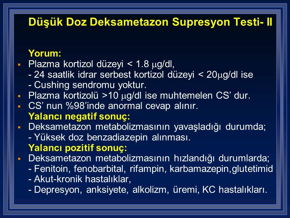 Düşük Doz Deksametazon Supresyon Testi- II Yorum:  Plazma kortizol düzeyi < 1.8  g/dl, - 24 saatlik idrar serbest kortizol düzeyi < 20  g/dl ise -