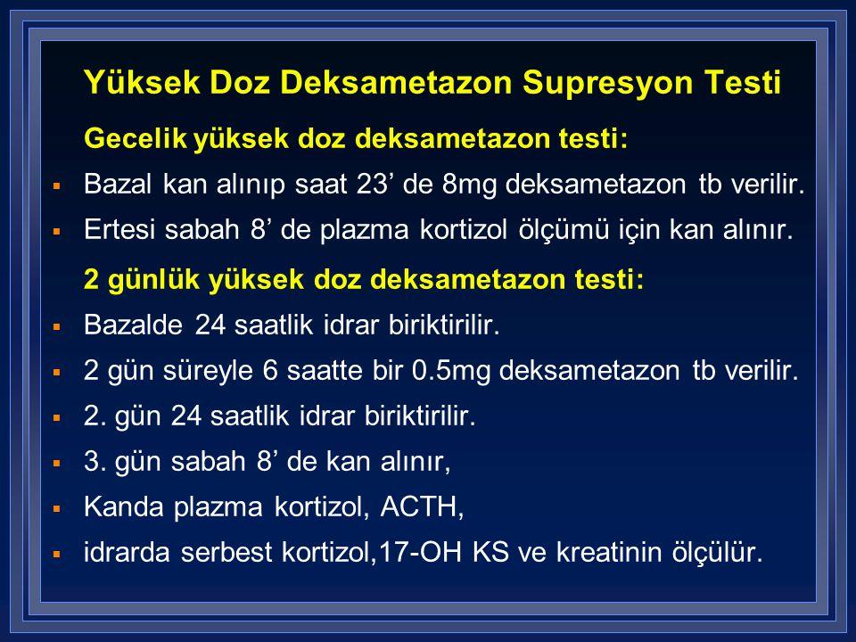 Yüksek Doz Deksametazon Supresyon Testi Gecelik yüksek doz deksametazon testi:  Bazal kan alınıp saat 23' de 8mg deksametazon tb verilir.  Ertesi sa