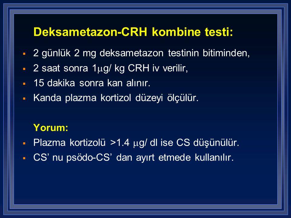 Deksametazon-CRH kombine testi:  2 günlük 2 mg deksametazon testinin bitiminden,  2 saat sonra 1  g/ kg CRH iv verilir,  15 dakika sonra kan alını