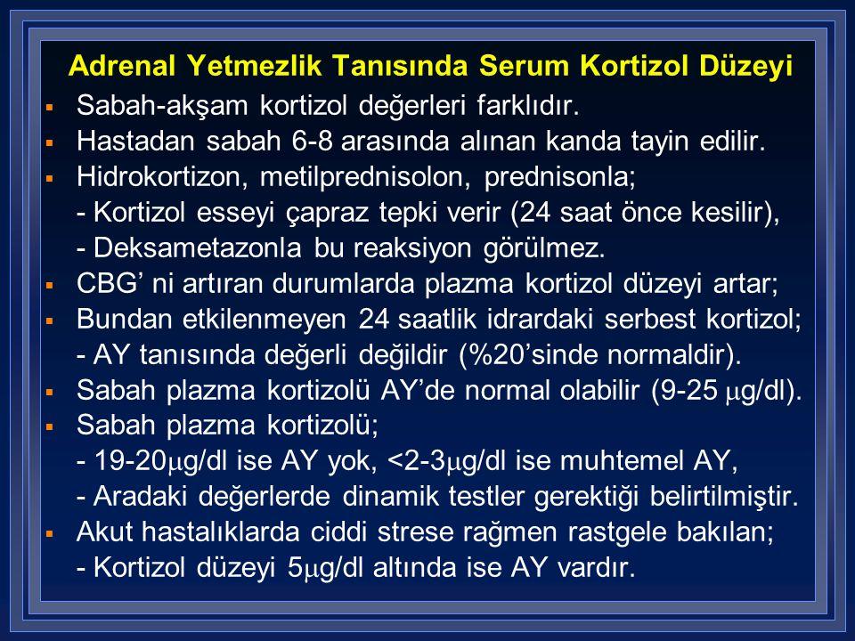 Adrenal Yetmezlik Tanısında Serum Kortizol Düzeyi  Sabah-akşam kortizol değerleri farklıdır.  Hastadan sabah 6-8 arasında alınan kanda tayin edilir.