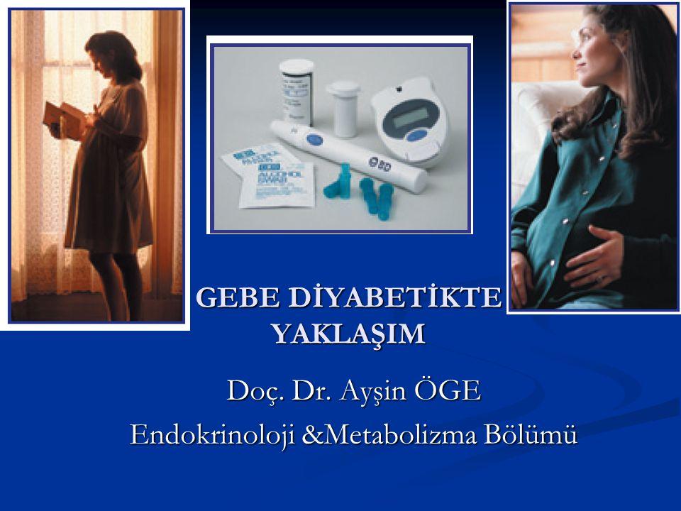 GEBE DİYABETİKTE YAKLAŞIM Doç. Dr. Ayşin ÖGE Endokrinoloji &Metabolizma Bölümü