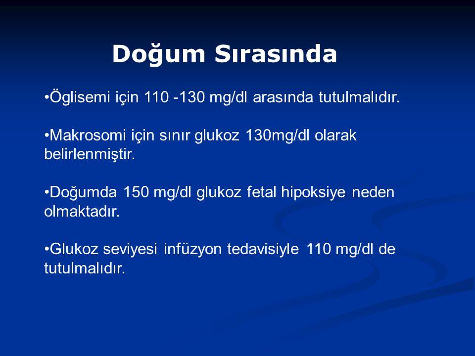 Öglisemi için 110 -130 mg/dl arasında tutulmalıdır.