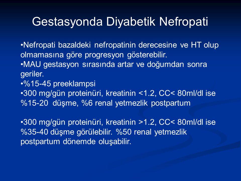 Nefropati bazaldeki nefropatinin derecesine ve HT olup olmamasına göre progresyon gösterebilir.