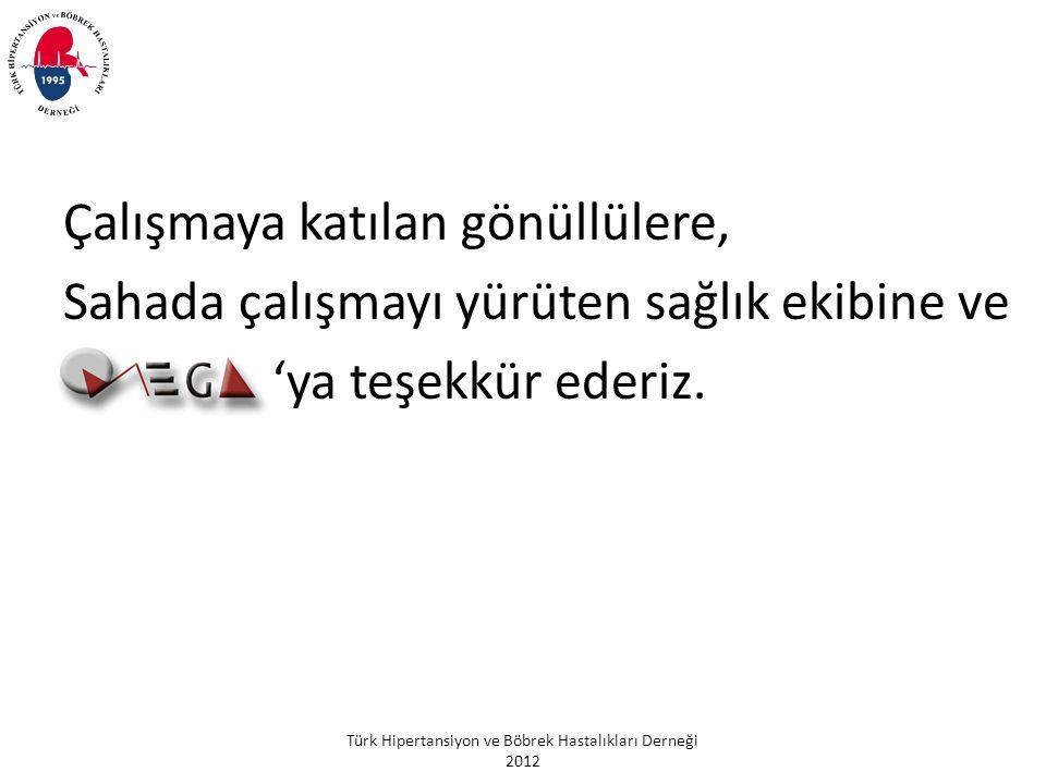 Türk Hipertansiyon ve Böbrek Hastalıkları Derneği 2012 Çalışmaya katılan gönüllülere, Sahada çalışmayı yürüten sağlık ekibine ve 'ya teşekkür ederiz.
