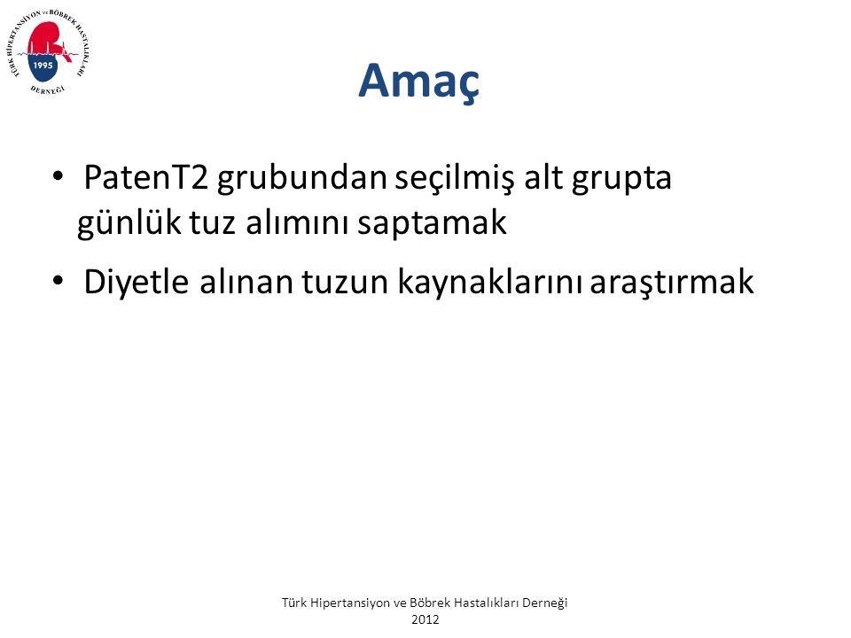 Türk Hipertansiyon ve Böbrek Hastalıkları Derneği 2012 Amaç PatenT2 grubundan seçilmiş alt grupta günlük tuz alımını saptamak Diyetle alınan tuzun kaynaklarını araştırmak
