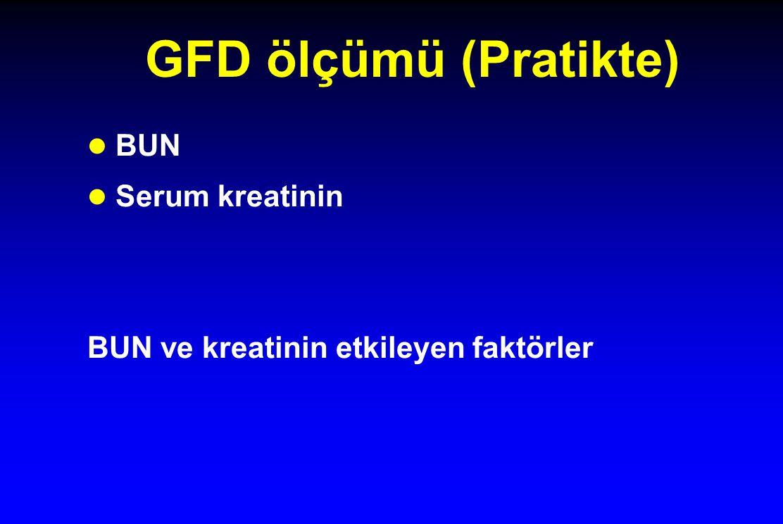 GFD ölçümü (Pratikte) l BUN l Serum kreatinin BUN ve kreatinin etkileyen faktörler