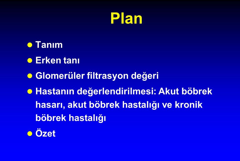 Plan l Tanım l Erken tanı l Glomerüler filtrasyon değeri l Hastanın değerlendirilmesi: Akut böbrek hasarı, akut böbrek hastalığı ve kronik böbrek hast