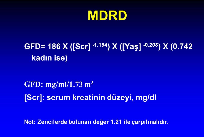 MDRD GFD= 186 X ([Scr] -1.154 ) X ([Yaş] -0.203 ) X (0.742 kadın ise) GFD: mg/ml/1.73 m 2 [Scr]: serum kreatinin düzeyi, mg/dl Not: Zencilerde bulunan