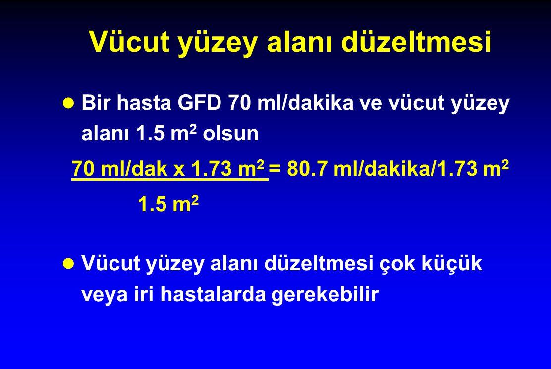 Vücut yüzey alanı düzeltmesi l Bir hasta GFD 70 ml/dakika ve vücut yüzey alanı 1.5 m 2 olsun 70 ml/dak x 1.73 m 2 = 80.7 ml/dakika/1.73 m 2 1.5 m 2 l