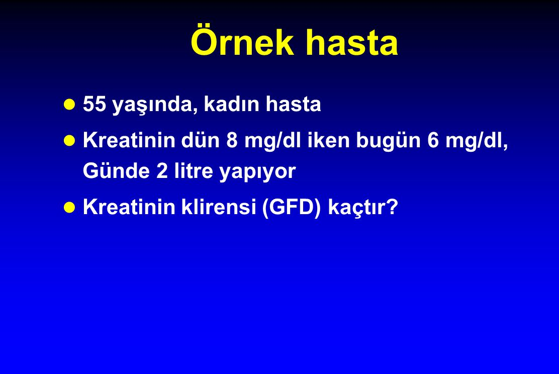 Örnek hasta l 55 yaşında, kadın hasta l Kreatinin dün 8 mg/dl iken bugün 6 mg/dl, Günde 2 litre yapıyor l Kreatinin klirensi (GFD) kaçtır?