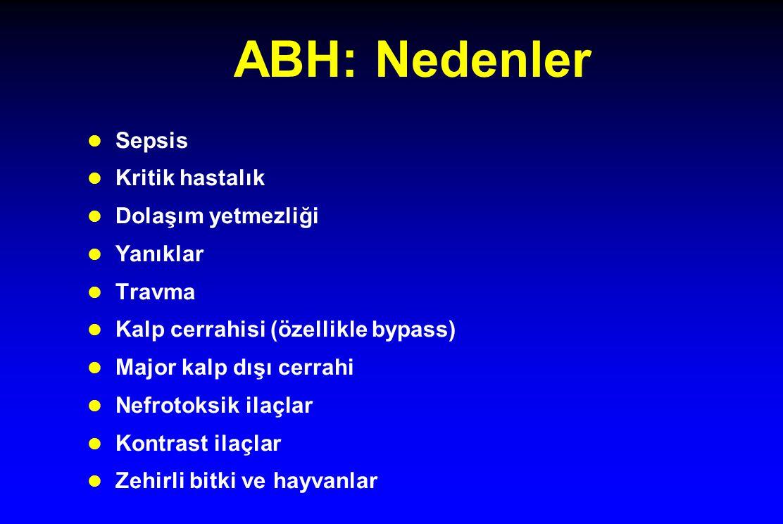 ABH: Nedenler l Sepsis l Kritik hastalık l Dolaşım yetmezliği l Yanıklar l Travma l Kalp cerrahisi (özellikle bypass) l Major kalp dışı cerrahi l Nefr