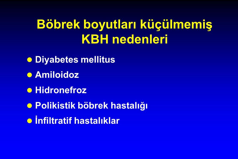 Böbrek boyutları küçülmemiş KBH nedenleri l Diyabetes mellitus l Amiloidoz l Hidronefroz l Polikistik böbrek hastalığı l İnfiltratif hastalıklar