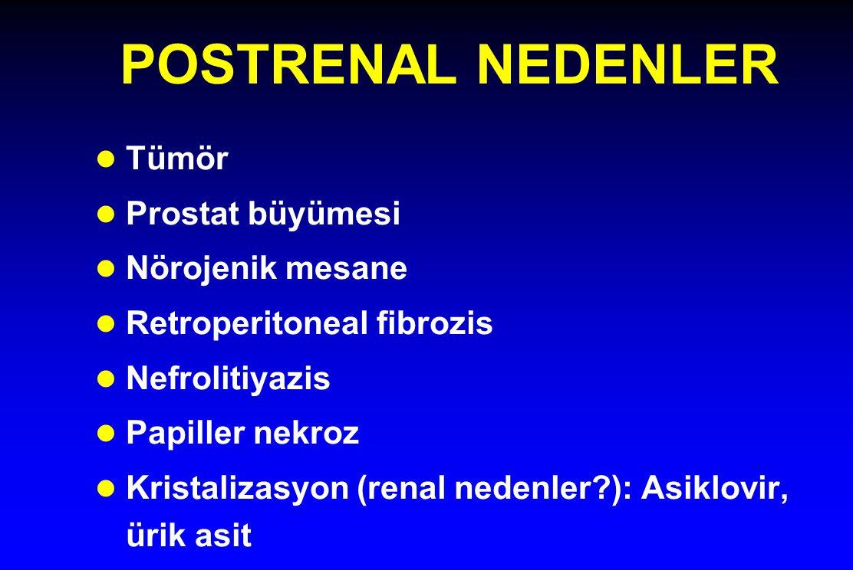 POSTRENAL NEDENLER l Tümör l Prostat büyümesi l Nörojenik mesane l Retroperitoneal fibrozis l Nefrolitiyazis l Papiller nekroz l Kristalizasyon (renal