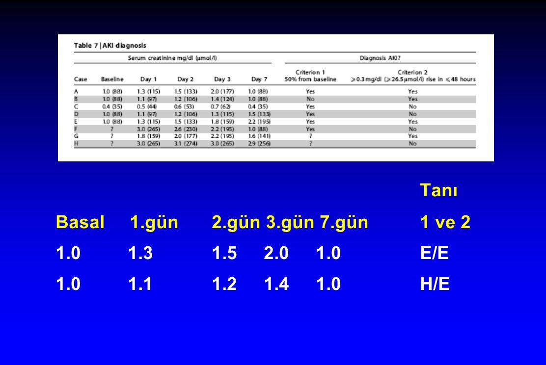 Tanı Basal 1.gün2.gün 3.gün 7.gün1 ve 2 1.0 1.31.52.01.0E/E 1.0 1.11.21.41.0H/E