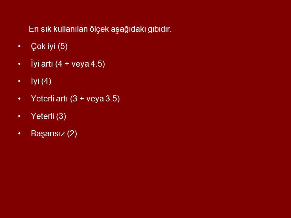 En sık kullanılan ölçek aşağıdaki gibidir. Çok iyi (5) İyi artı (4 + veya 4.5) İyi (4) Yeterli artı (3 + veya 3.5) Yeterli (3) Başarısız (2)