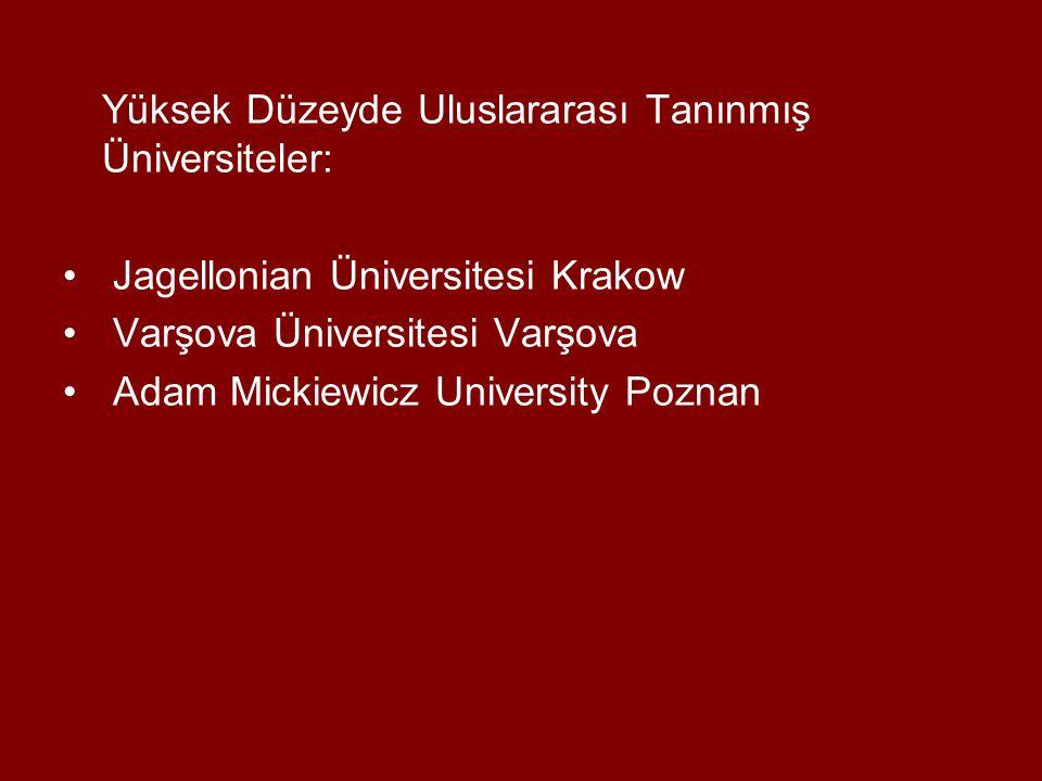 Yüksek Düzeyde Uluslararası Tanınmış Üniversiteler: Jagellonian Üniversitesi Krakow Varşova Üniversitesi Varşova Adam Mickiewicz University Poznan