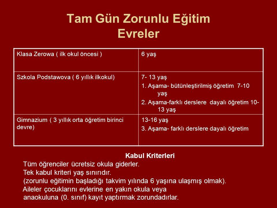 Tam Gün Zorunlu Eğitim Evreler Klasa Zerowa ( ilk okul öncesi )6 yaş Szkola Podstawova ( 6 yıllık ilkokul)7- 13 yaş 1. Aşama- bütünleştirilmiş öğretim
