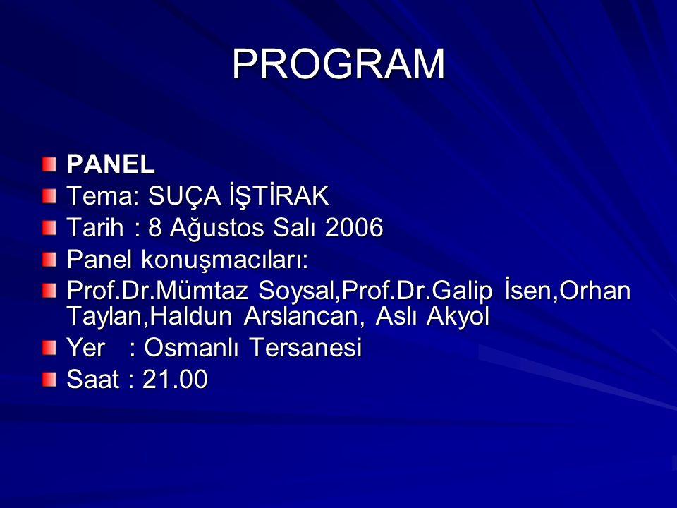 PROGRAM PANEL Tema: SUÇA İŞTİRAK Tarih : 8 Ağustos Salı 2006 Panel konuşmacıları: Prof.Dr.Mümtaz Soysal,Prof.Dr.Galip İsen,Orhan Taylan,Haldun Arslanc