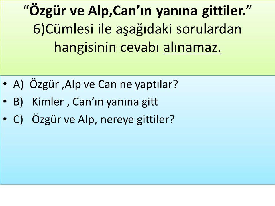"""""""Özgür ve Alp,Can'ın yanına gittiler."""" 6)Cümlesi ile aşağıdaki sorulardan hangisinin cevabı alınamaz. A) Özgür,Alp ve Can ne yaptılar? B) Kimler, Can'"""