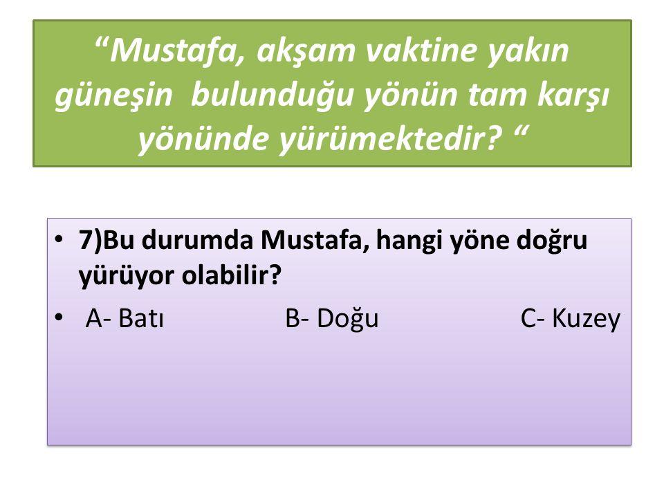 """""""Mustafa, akşam vaktine yakın güneşin bulunduğu yönün tam karşı yönünde yürümektedir? """" 7)Bu durumda Mustafa, hangi yöne doğru yürüyor olabilir? A- Ba"""